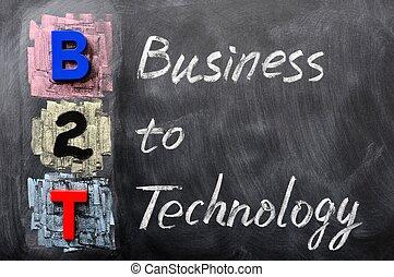 acroniem, technologie, b2t, -, zakelijk