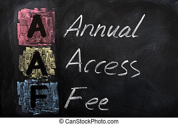 acroniem, toegang, aaf, honorarium, jaarlijks