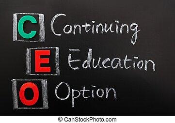 acroniem, van, ceo, -, doorlopende opvoeding, optie