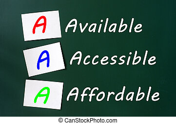 Acronym of AAA for available, accessible and affordable written on a blackboard