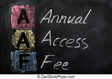 Acronym of AAF for Annual Access Fee written in chalk on a...