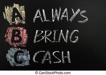 Acronym of ABC - Always bring cash