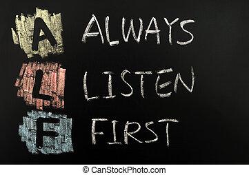 Acronym of ABC - Always Listen First