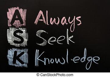 Acronym of ASK - Always seek knowledge written in chalk on a...