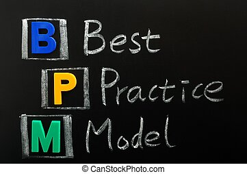 Acronym of BPM - Best Practice Model written on a blackboard