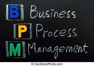 Acronym of BPM - Business Process Management written on a...
