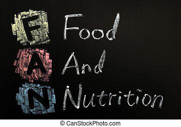 Acronym of FAN - Food and nutrition written in chalk on a blackboard