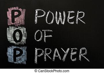 Acronym of POP - Power of prayer written on a blackboard