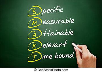 acronyme, concept, intelligent, business, tableau noir