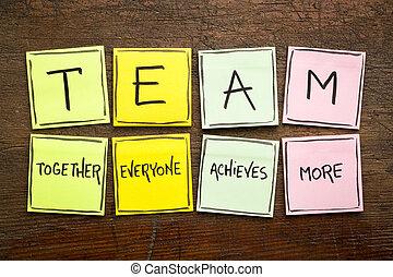 acronyme, notes, ensemble, équipe, collant
