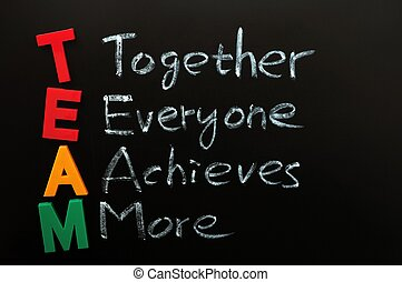 acronyme, tableau noir, équipe