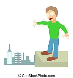 Acrophobia concept, cartoon illustration - Acrophobia...