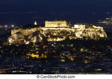 Acropolis and Athens cityscape, Greece - Parthenon,...