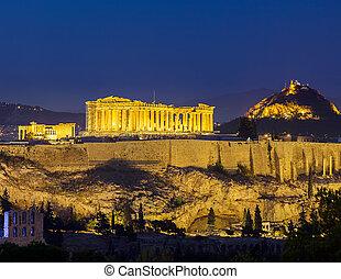 Acropolis at night, Athens, Greece