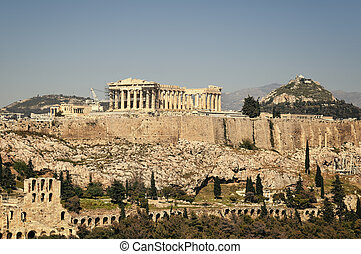 Acropolis, Athens, Greece - Acropolis and Lycabettus Hill in...