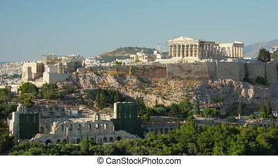 Acropolis, Athens, Greece, Timelapse, zoom in,