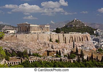 Acropolis, Athens - View on Acropolis and Likavitos, Athens,...
