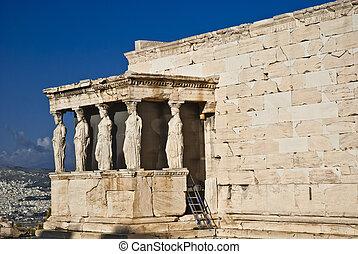 acropolis, caryatids, atény, erechteion, řecko