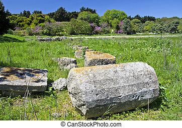 Acropolis columns ruins  in Rhodes island, Greece