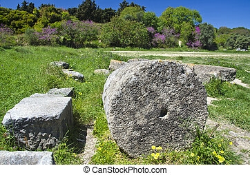 Acropolis columns ruins in Rhodes island