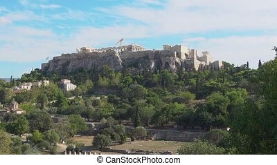 Acropolis hill in Athens, Greece. Zoom out