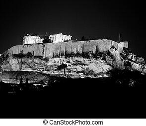 Acropolis Illuminated At Night