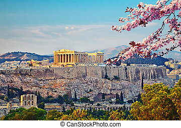 Acropolis in Athens at spring - View on Acropolis at sunset,...