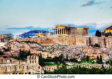 Acropolis in Athens, Greece in the evening