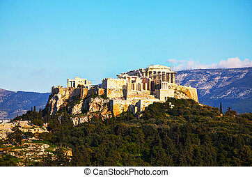Acropolis in Athens, Greece on a sunny day