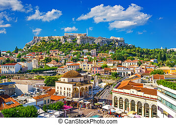 Acropolis in Athens, Greece - View of the Acropolis from the...