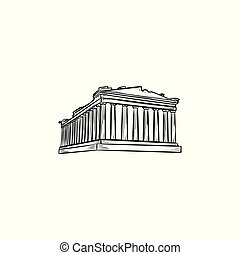 Acropolis in Athens hand drawn outline doodle icon.