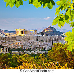 Acropolis in Athens - View on Acropolis at sunset, Athens,...