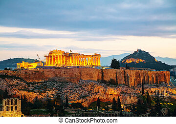 Acropolis in the evening after sunset - Acropolis in Athens...