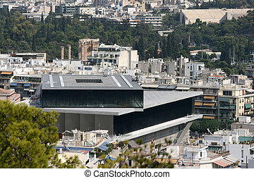 acropolis museum - the new museum of acropolis in background...