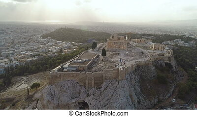 Acropolis of Athens ancient citadel in Greece, aerial view