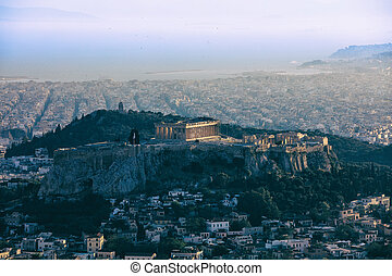 Acropolis of Athens and Athens Greece - panoramic view