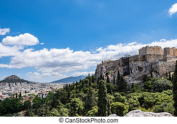 Acropolis of Athens and Mount Lycabettus view from Areopagus hill in Greece