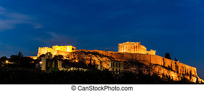Acropolis of Athens, Greece at evening