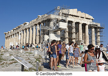 Acropolis of Athens. Parthenon and tourists. Greece....