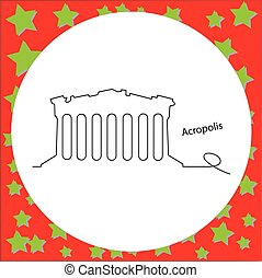 Acropolis of Athens vector illustration outline black line, isolated on circle white background with stars.