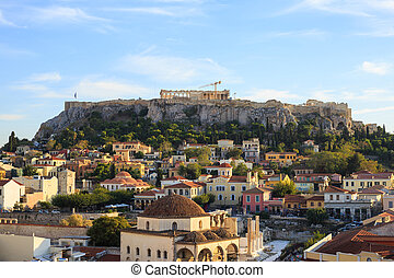 Acropolis rock and Monastiraki. Athens, Greece.