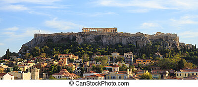 Acropolis rock over Plaka. Athens, Greece.