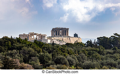 Acropolis rock view from Filopappou hill, Athens, Greece. Historic landmark. Unesco World Heritage ancient, historic, classical archeological monument background. Destination, holiday, tourism Greece.