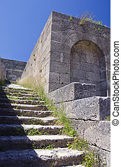 Acropolis ruins with stairs in Rhodes island, Greece