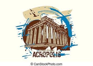 Acropolis silhouette - Acropolis. Athens, Greece city...