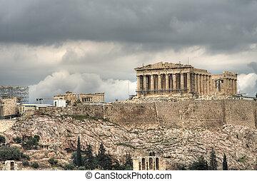 Acropolis - The Parthenon seen from Filapopos Hill.