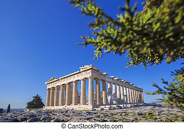 Acropolis with Parthenon temple in Athens, Greece - Famous...