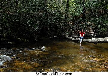 Across a shallow creek.