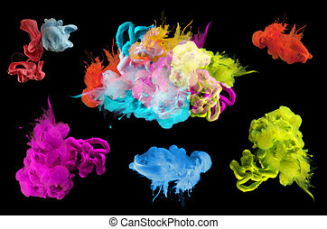Acrylic colors in water. Abstract background. Collection.
