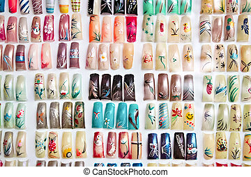 Acrylic fingernails on display - Artificial acrylic nails...